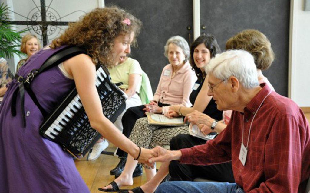 Lisa With Seniors at Gathering